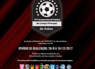 Faça sua inscrição para o 10º Campeonato de Futebol de Campo Principal da Asbac até o dia 13 de agos