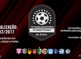10º Campeonato de Futebol de Campo Principal da Asbac: Inscrições abertas