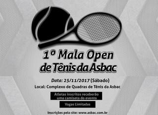1º Mala Open de Tênis da Asbac - Inscrições prorrogadas