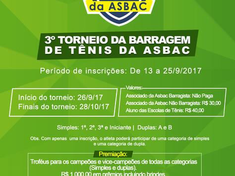 Inscrições abertas: 3º Torneio da Barragem de Tênis da Asbac