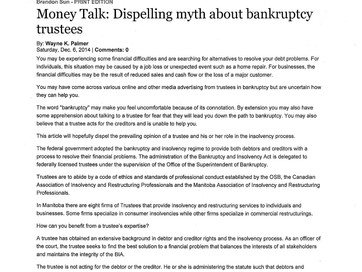 Dispelling Myth About Bankruptcy Trustees