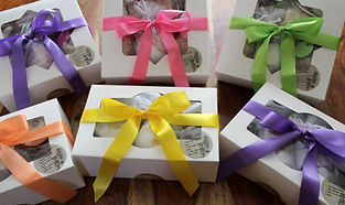 denim and lace cusom gift boxes wit different color ribbons