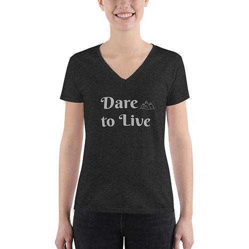 Dare to Live – Women's Fashion Deep V-neck Tee