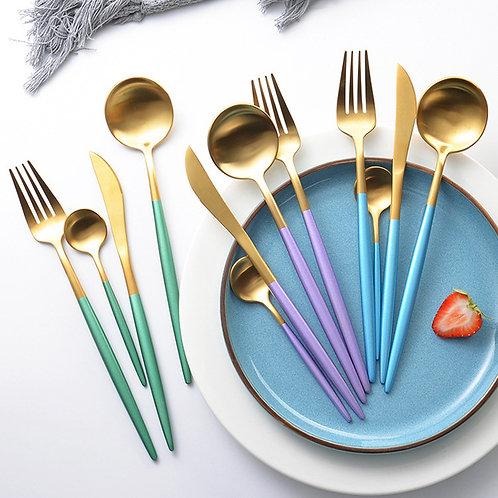 24Pcs/Set Dinnerware Set 304 Stainless Steel Black Gold Cutlery Set  Knife Fork