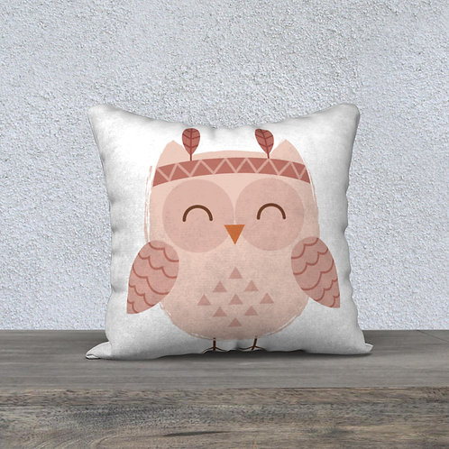 Coussin Hibou rose