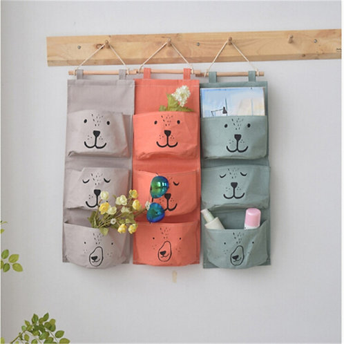 Wall Hanging Organizer Hanging Storage Bag Wardrobe Hanging Essential 3 Pockets