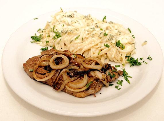 Contrafilé e Espaguete