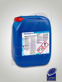Desinfectante exclusivo del agua. Cumple la norma UNE 902:2016, tipo I (productos químicos utilizados en el tratamiento del agua destinada al consumo humano). Desinfectante de acción rápida y efecto prolongado en el tiempo efectivo frente a un amplio espectro de microorganismos.