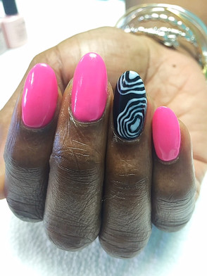 Natural nails with gel polish and nail art