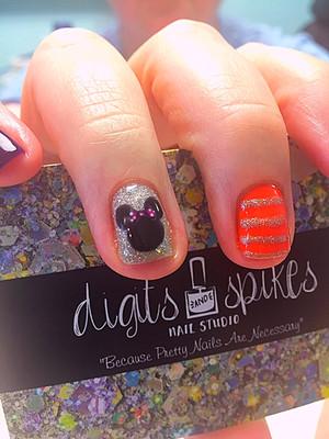 Gel polish with disney nail art