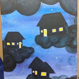 "Cloud Cities #3 ""Nighttime Cloud Houses"""