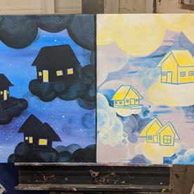 """Cloud Cities #2 & #3 """"Daytime and Nightime Cloud Houses"""""""