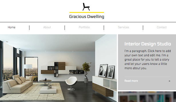 Agencias website templates – Firma de diseño de interiores