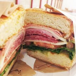 Italian sub #sandwich! Who needs Italy when you can go to #Lovebirdscafe! #yum__Salami, ham, mortade