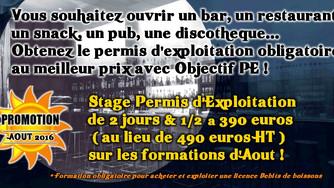 Promotion sur les Stages de Formation au Permis d'Exploitation à Lyon en Août 2016 :