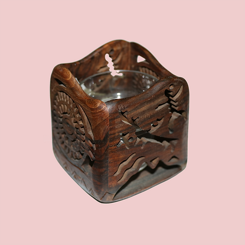 Handcarved Wood Candle