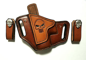 Custom Leather IWB OWB Combo with Punisher Skull