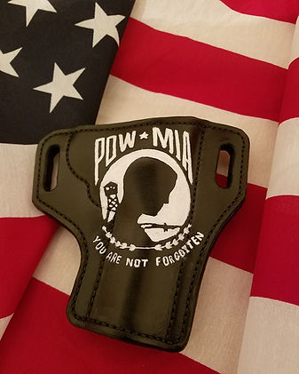 Black Leather POW MIA Holster