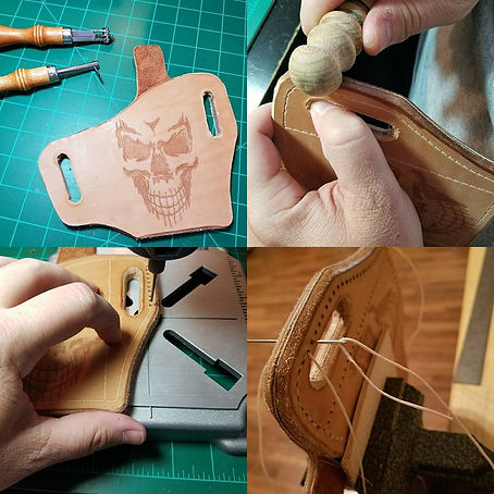 Hand stitching, sewing and burnishing leather holster