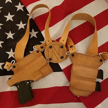 Leather Shoulder Holster - Pistol with Mag Carrier
