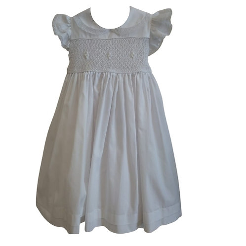 Vestido Ponto Smock Branco Ana Maria