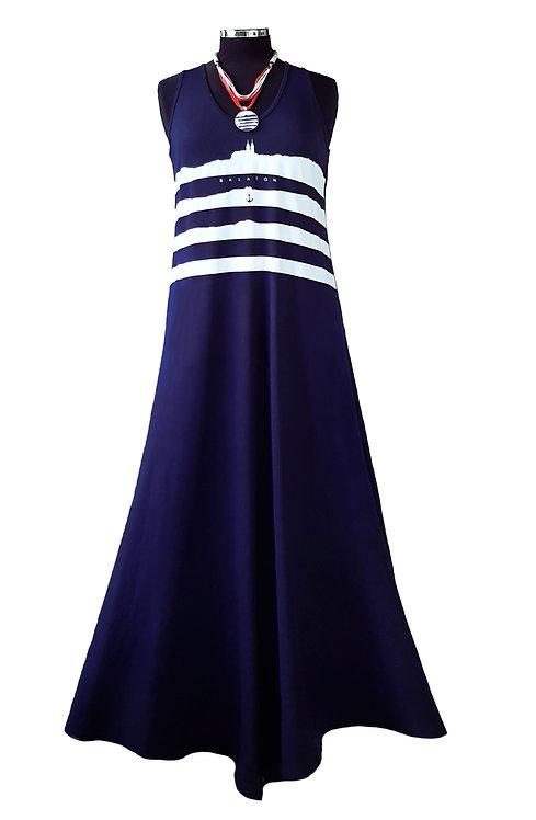 Swan hosszú ruha, navy blue, ujjatlan