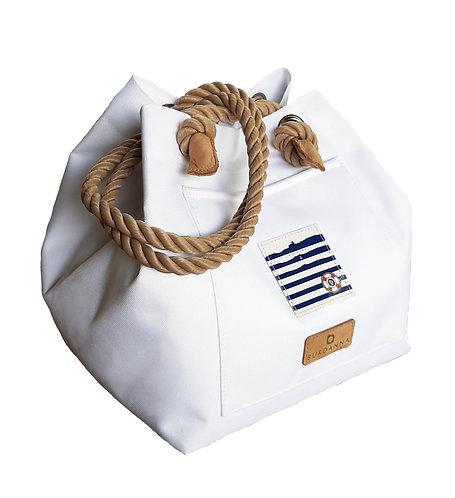 Balaton Cube táska hófehér,natúr füllel, bőr végzáróval