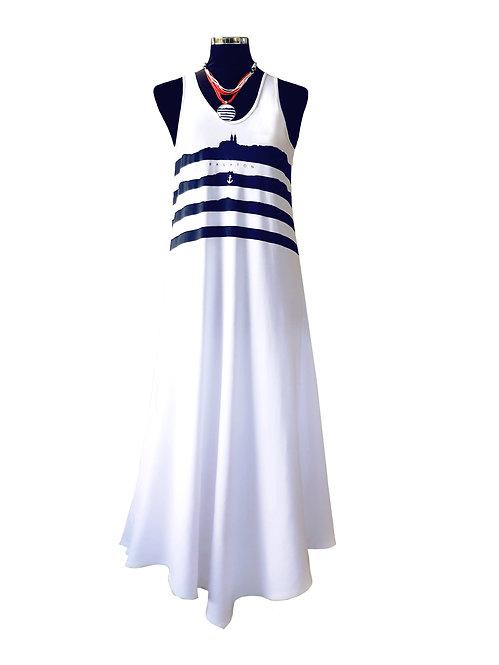 Swan hosszú fehér ruha, ujjatlan