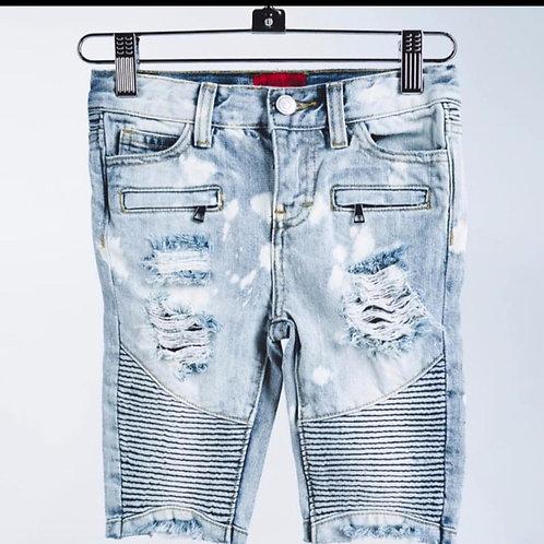 Haus Of Jr Light Denim Biker Shorts