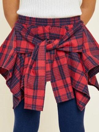 Layered Plaid Skirt Leggings
