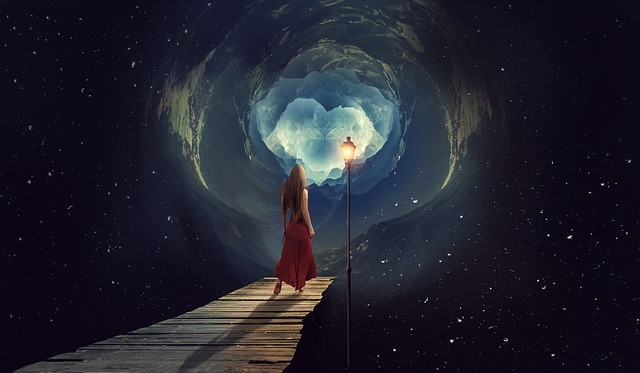 possibilities - girl walking into a vortex