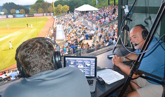Commentating at the Charleston RiverDogs game