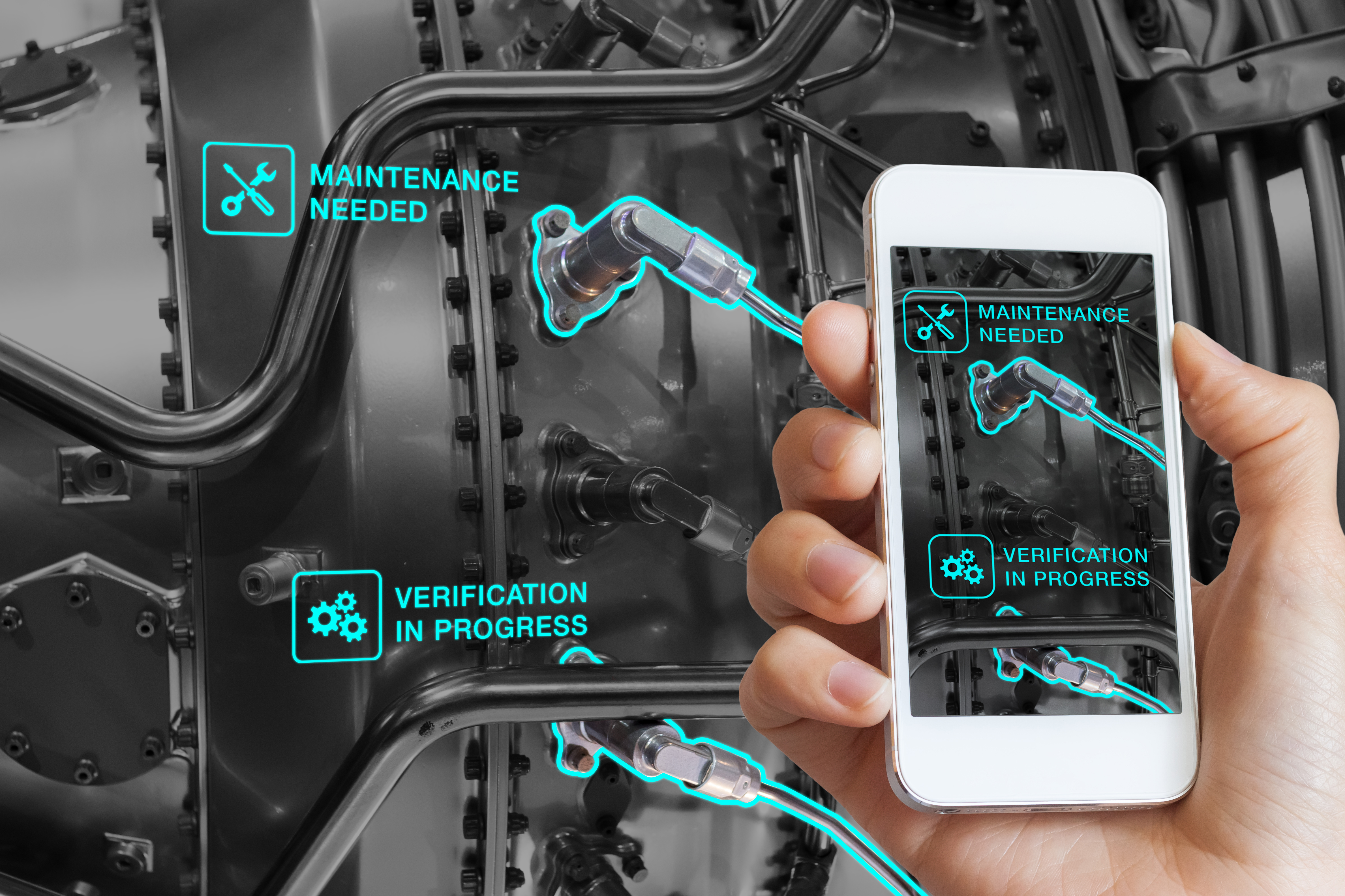 Augmented Reality technology maintenance and service of mechanical parts, technician using smartphon