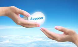 sending support light bulb on women hand
