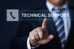 business, technology, internet and networking concept - businessman pressing technical support butto