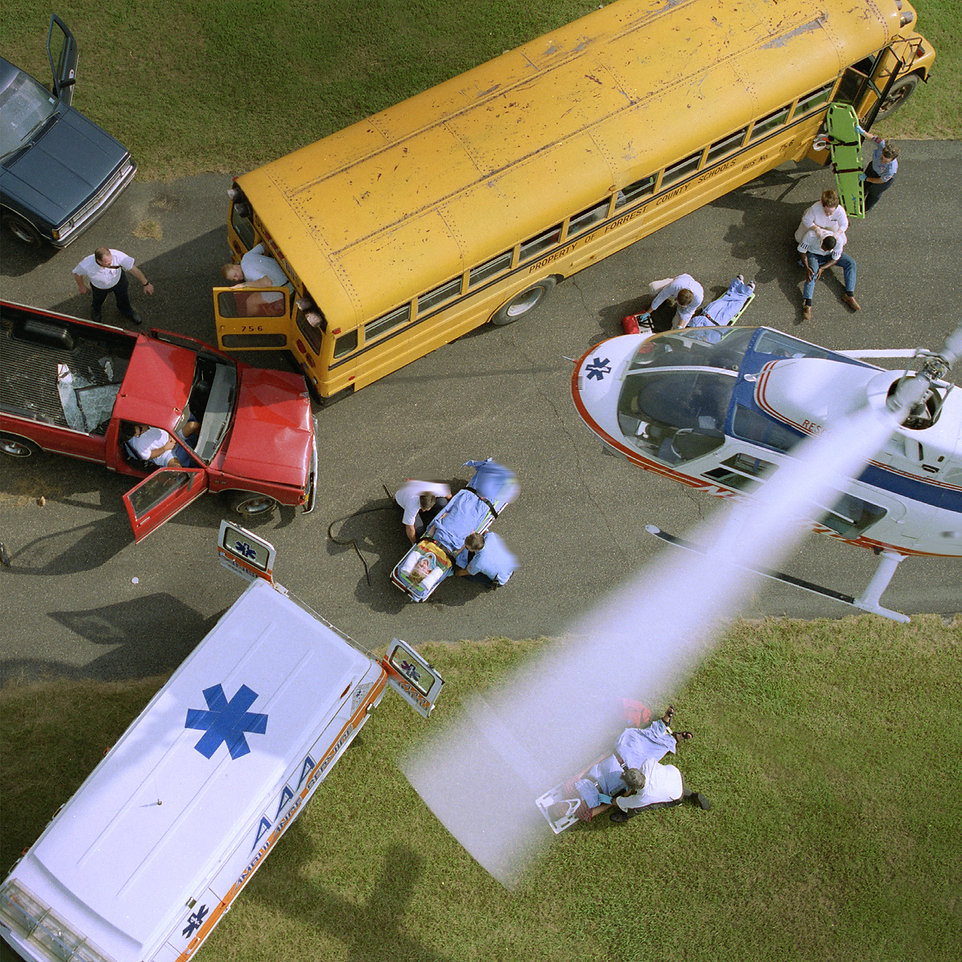 School bus wreck helicopter rescue