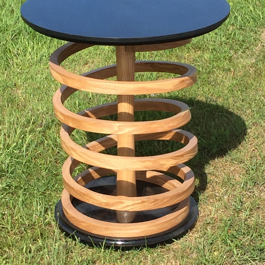 Ash and American Oak Vertical Spiral Table