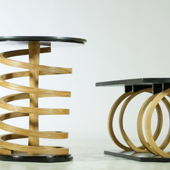 Ash and American Oak Spiral Tables