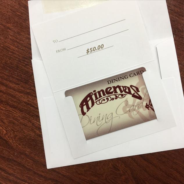 $50 Minervas Gift Certificate: Kelly Holzer, Ethan