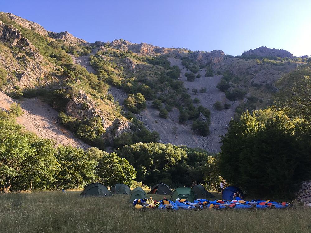 Wild camp next to Krupa River in Croatia