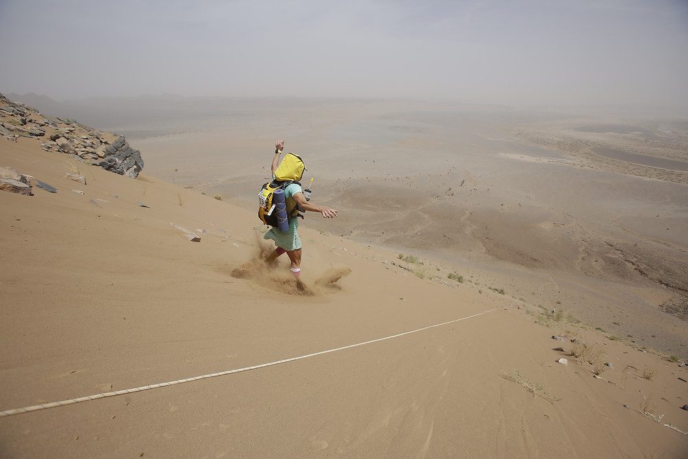 Sand Dune Running - Sahara Desert Stretches Out Below