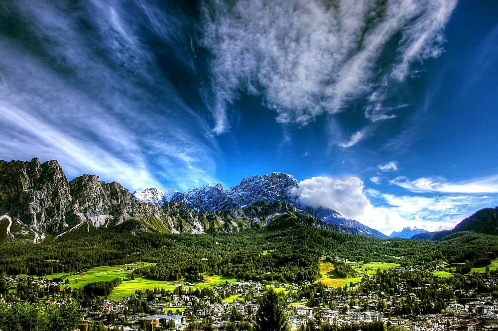 Cortina Nestled in Dolomites