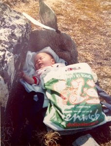Anna-Marie Watson in a Fenwicks plastic bag