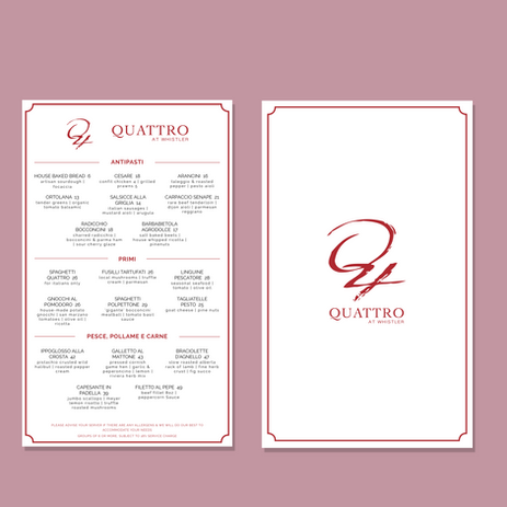 Quattro Dinner Menu Sample