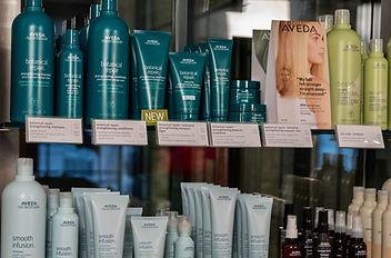 Sample Display of Aveda Products in Farfalla Salon