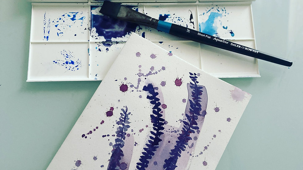 Water colour Lavender card