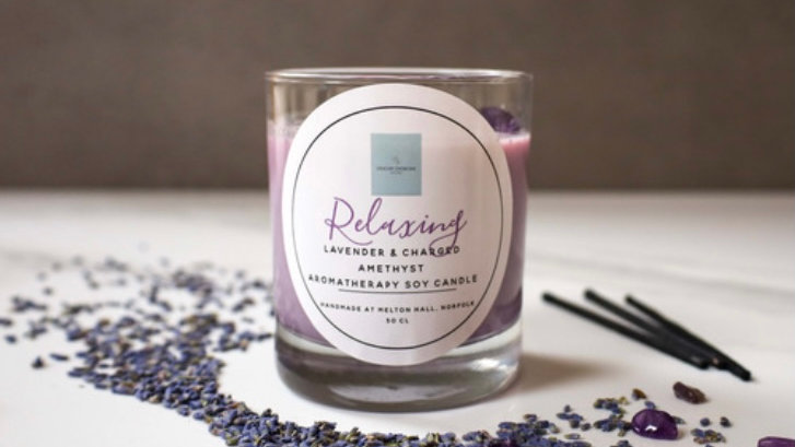 Relaxing Lavender & Amethyst Soy Candle