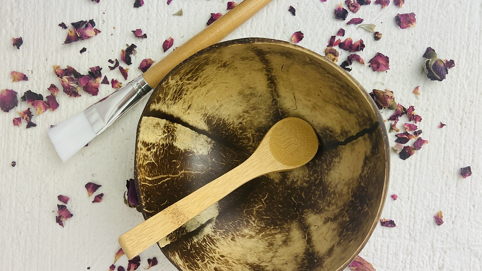 Coconut bowl, Spoon & Face~Mask Brush