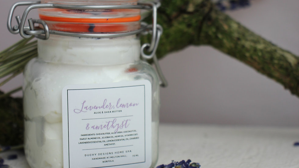 Lavender, Lemon & Amethyst Shea & Aloe Butter.