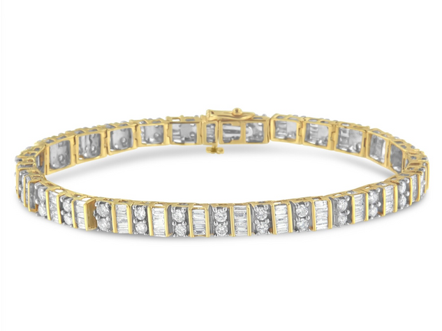 14K Yellow Gold 4ct. TDW Round and Baguette-cut Diamond Tennis Bracelet